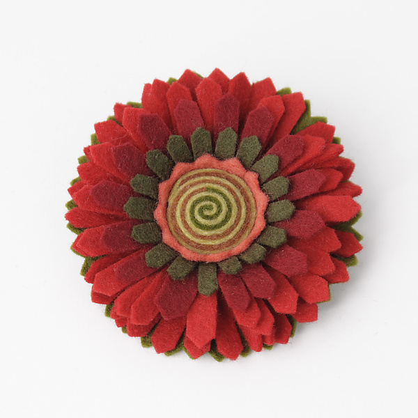 Chrysanthemum Felt Flower Pin by Renee Roeder-Earley (Felted Brooch)   Artful Home