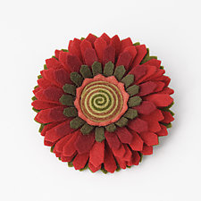 Chrysanthemum Felt Flower Pin by Renee Roeder-Earley  (Felted Brooch)