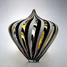 Amber-Windowed Parabola by David Patchen (Art Glass Sculpture)