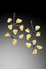 Bimetal Seaweed Earrings by Lori Gottlieb (Gold & Silver Earrings)