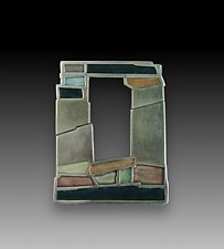 Old Stone Window Pin by Carly Wright (Silver & Enamel Brooch)
