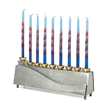 Negev Menorah by Joy Stember (Metal Menorah)