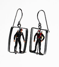 Scuba Diver Earrings by Kristin Lora (Silver Earrings)