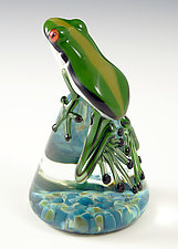 Green Racer Stripe Frog by Eric Bailey (Art Glass Paperweight)