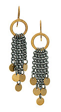 Dana Earrings with Disks by Jodi Brownstein (Gold & Silver Earrings)