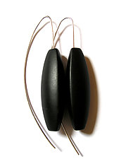 Black Onyx Tri-Sided Earrings by Claudia Endler (Silver & Stone Earrings)