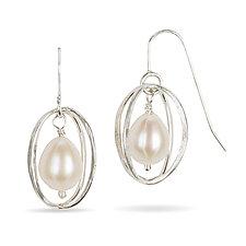 Pearl in a Cage Earrings by Randi Chervitz (Silver & Pearl Earrings)
