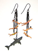 Swimmer Dangles with Shark by Kristin Lora (Silver Earrings)