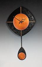 Black & Copper L-Drop Pendulum Clock by Leonie  Lacouette (Wood Clock)
