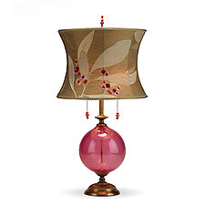 Natalia in Rose Glass by Susan Kinzig and Caryn Kinzig (Mixed-Media Table Lamp)