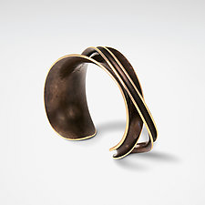 Bronze Single Overlay Cuff by Nancy Linkin (Bronze Bracelet)
