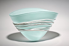 Celadon Fan Bowl by Ian Whitt (Art Glass Bowl)