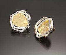 Aqua Earring Studs by Sana  Doumet (Gold & Silver Earrings)