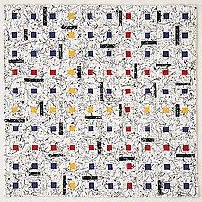 Earth Quilt 53: Homage to Mondriaan XXIV by Meiny Vermaas-van der Heide (Fiber Wall Hanging)