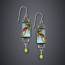 Trochilus Anna Hummingbird Earrings by Dawn Estrin (Silver Earrings)