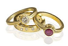 22k Gold & Diamond Wedding Ring by Nancy Troske (Gold & Stone Wedding Band)