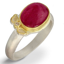 Ruby Cabochon & Diamond Leaf Ring by Nancy Troske (Gold, Silver, & Stone Ring)