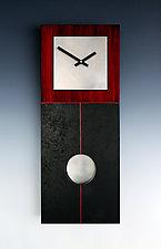 Jane Pendulum Clock in Red & Black by Leonie  Lacouette (Wood Clock)