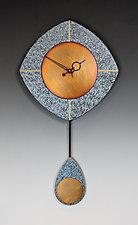 Blue & Copper L-Drop Pendulum Clock by Leonie  Lacouette (Wood & Copper Clock)