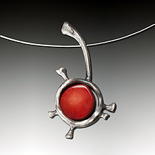 Rosehip Mood Pendant by Aleksandra Vali (Silver & Coral Necklace)