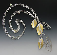 Dancing Leaves Necklace by Judith Neugebauer (Gold, Silver & Pearl Necklace)