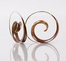 Bronze Spiral Earrings by Nancy Linkin (Gold & Bronze Earrings)