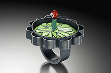 Scalloped Edge Flower Ring with Green Enamel by Lauren Schlossberg (Enameled Ring)