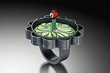 Scalloped Edge Flower Ring with Green Enamel by Lauren Schlossberg (Enameled Ring)