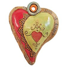 Hearts for Haiti Raw Rim by Laurie Pollpeter Eskenazi (Ceramic Wall Sculpture)