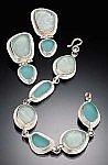 Beach Glass Bracelet and Earrings by Amy Faust (Silver & Glass Bracelet & Earrings)