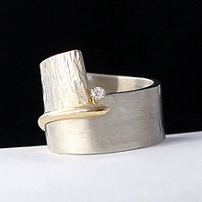 Bridging the Gap Ring by Dagmara Costello (Gold, Silver & Stone Wedding Band)