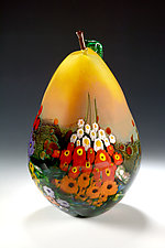 Landscape Series Yellow Pear by Shawn Messenger (Art Glass Sculpture)