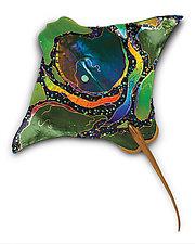 Green Eagle Ray by Karen Ehart (Art Glass Wall Sculpture)