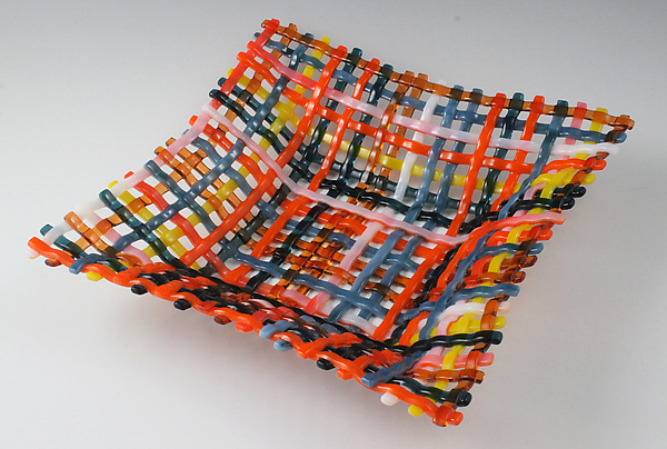 Caribbean Sunset Quilt Square Glass Basket