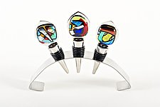 Mardi Gras Wine Stoppers by Helen Rudy (Art Glass Wine Stopper)