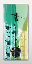 Jadeite Pendulum Clock by Nina  Cambron (Art Glass Clock)