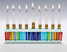 Rainbow Icicle Menorah by Alicia Kelemen (Art Glass Menorah)
