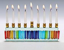 Rainbow Icicle Menorah by Alicia Kelemen (Art Glass Menorah)