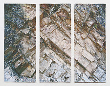 Pink Rock Triptych by Marilyn Henrion (Fiber Wall Hanging)