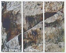 Gray Rock Triptych by Marilyn Henrion (Fiber Wall Hanging)