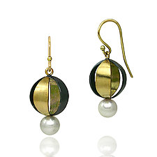 Moiré Spherical Earrings by Keiko Mita (Gold, Silver, & Pearl Earrings)