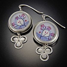 Plum Blossom Earrings with Filigree Dot Trios by Ananda Khalsa (Silver Earrings)