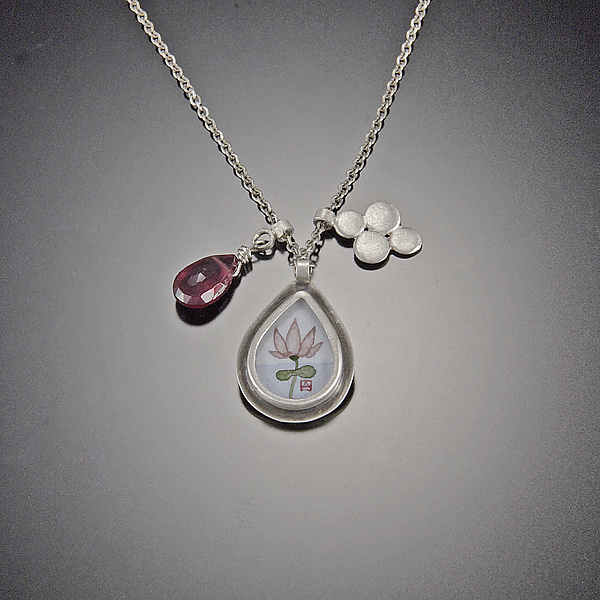 Lotus Charm Necklace with Pink Tourmaline