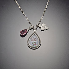 Lotus Charm Necklace with Pink Tourmaline by Ananda Khalsa (Silver & Stone Necklace)