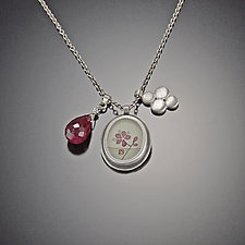 Plum Blossom Charm Necklace with Ruby Drop by Ananda Khalsa (Silver & Stone Necklace)