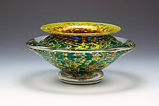 Ikebana Bowl (Opaque Silver Green) by Danielle Blade and Stephen Gartner (Art Glass Vase)
