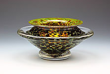 Ikebana Bowl (Opaque Silver Black) by Danielle Blade and Stephen Gartner (Art Glass Vase)