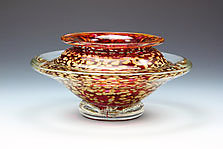 Ikebana Bowl (Transparent Ruby) by Danielle Blade and Stephen Gartner (Art Glass Vase)