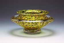 Ikebana Bowl (Transparent Lime) by Danielle Blade and Stephen Gartner (Art Glass Vase)