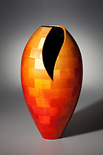 Medium Deep Vee Vase by Joel Hunnicutt (Wood Sculpture)